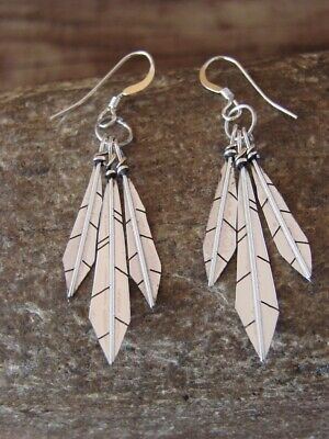 Native American Jewelry Stamped Sterling Silver Three Feather Earrings by Arviso