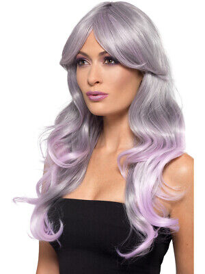 Fashion Ombre Long Wavy Grey And Pink Model Wig Women's Costume - Fashion Model Halloween Costumes