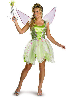 Adults Womens Deluxe Classic Disney Peter Pan Tinker Bell Tinkerbell Costume