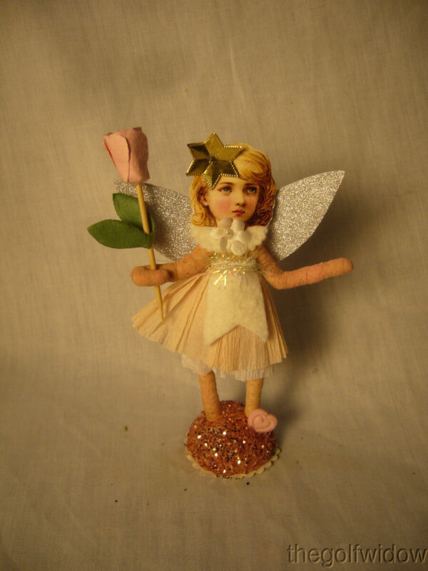 Vintage Inspired Spun Cotton Antique Looking Jeweled Angel no. V19