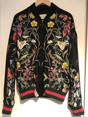 Gucci Black Floral Flower BLOOMING IN YOUR GARDEN Silk Bomber Blouson Jacket 46