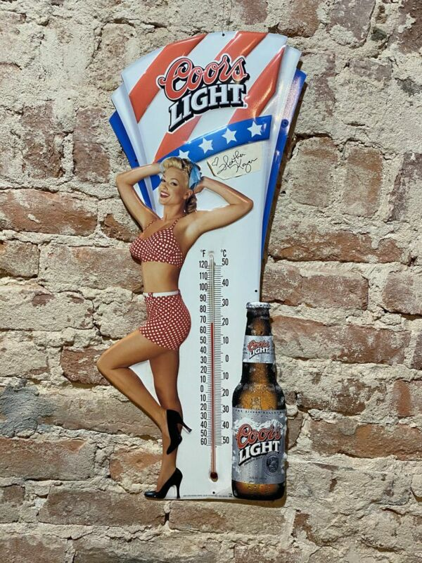 COORS LIGHT TIN BEER SIGN WITH THERMOMETER PINUP SIGNED HEATHER KOZAR