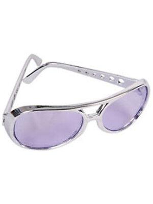 Purple Silver Frame Elvis Aviator Rock Star Glasses
