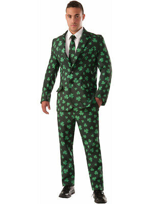 Adults Men's St. Patrick's Day Shamrock Suit And Tie Costume Medium 42 - Suit And Tie Halloween Costumes