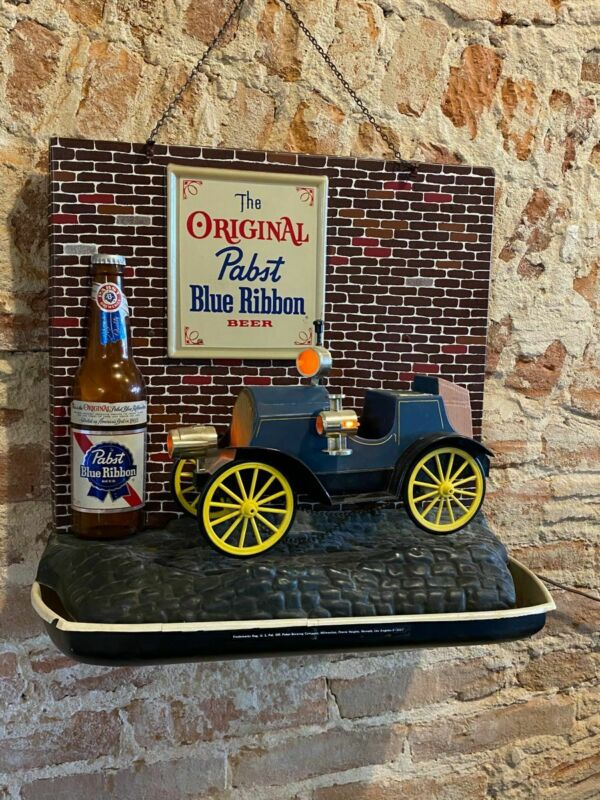 Vintage Plastic Pabst PBR Beer Sign Old Car Light Up Bar Sign 1960