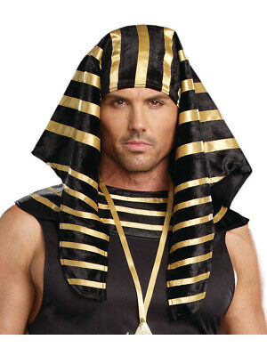 Mens Black And Gold Ancient Egyptian Pharaoh Headpiece Costume Accessory