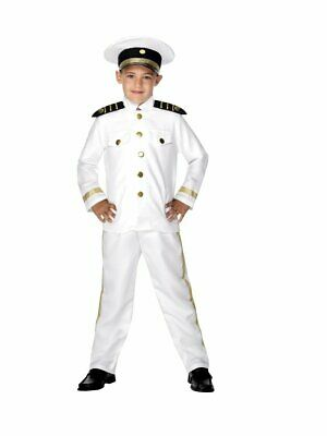 Military Dress Up Costumes (Boys Navy Captain Costume Military Full Dress Whites Uniform Child Kids M L)