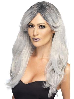 Damen Geisterhaft Glamourös Kostüm Perücke Grau Neues von (Glamourös Kostüm)