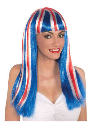 Patriotic Red White and Blue USA American British Team Spirit Long Wig - Red White And Blue Wig