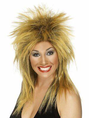 Blond Mullet Wig (Womens Punk Rocker Wig Spiky Gold Blonde Hair 80s Diva Mullet Look Adult)