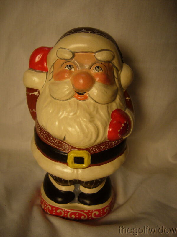 Vaillancourt Folk Art Round Jolly Gingerbread Santa Signed Low Number