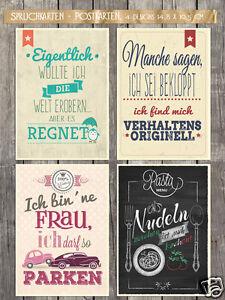 12 Spruchkarten - Postkarten, Statements mit Humor, lustige Karten, 4 Designs