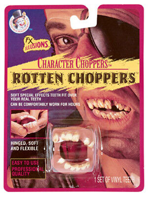 Deluxe Rotten Chompers Costume Pirate or Redneck Fake Vinyl Teeth Set - Costume Fake Teeth