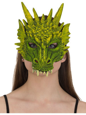 ADULT DRAGON COSTUME RUBBER FACE MASK GREEN DINOSAUR ANIMAL GAME OF THRONES
