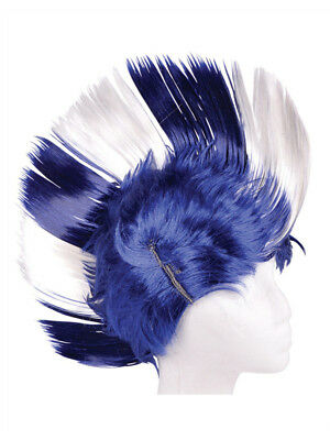 Adult Blue and White School and Team Spirit Mohawk Wig