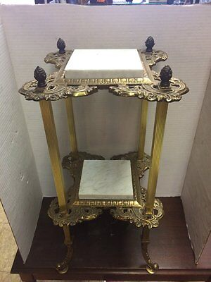 Antique/vintage Brass and marble side table. Gorgeous detail! Beautiful!