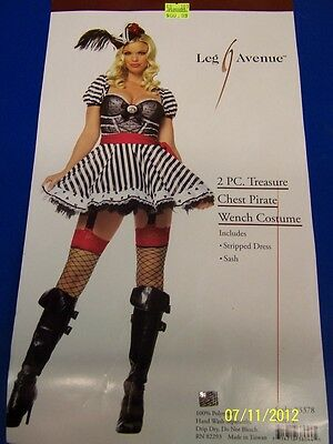 Treasure Chest Halloween Costume (2 pc. Treasure Chest Pirate Wench Striped Dress Up Halloween Sexy Adult)