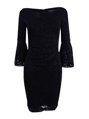 Lauren by Ralph Lauren Women's Bell-Sleeve Lace Dress 16, Black