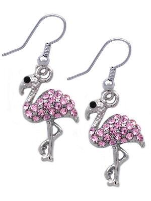 Small Flamingo Bird Pet Animal Hook Earrings Fashion Jewelry Pink Rhinestone