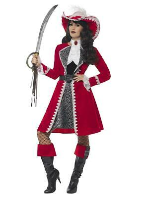 Womens Ladies Red Captain Pirate Fancy Dress Costume Complete Outfit