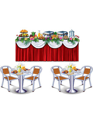 Tropical Cruise Buffet First Class Eating Tables Wall Props - Halloween Table Buffet