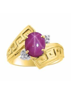 Diamond & Star Ruby Ring Set In Yellow Gold Plated Silver - Greek Key Design - (Ruby Greek Key Ring)