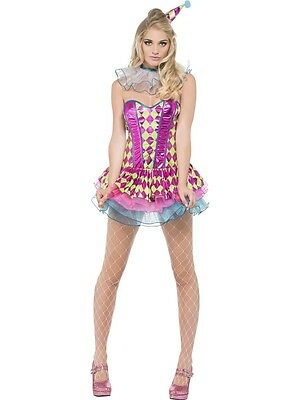 Womens Sexy Harlequin Clown Costume Pink Green Blue Purple Fancy Dress Adult NEW