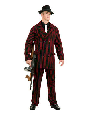 Adult Men's Roaring 20s 6 Button Gangster Costume Double Breasted Suit - 20s Mens Costumes