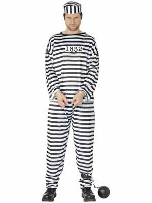 Mens Prisoner Costume Halloween Convict Inmate Jailbird Robber Adult M L XL NEW](Mens Robber Halloween Costume)