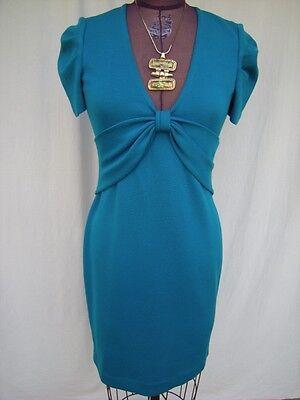 ST. JOHN for NORDSTROM Deep Turquoise Wool Blend Knit Career Dinner Dress Sz 2