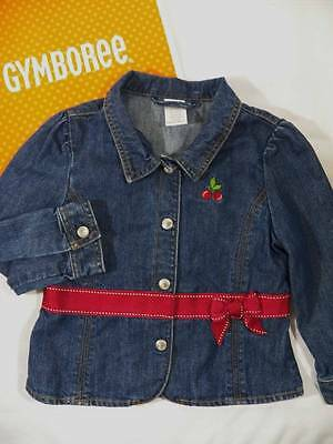 - ~Gymboree~ Girls Size 4 CHERRY PIE Denim Jean Ribbon Jacket Blazer