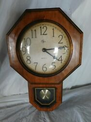 vintage Elgin regulator pendulum clock wall wood oak french country decor room