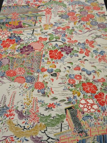"2K02z60 Japanese Kimono Silk  FABRIC Off-white Japanese imperial garden 43.3"""