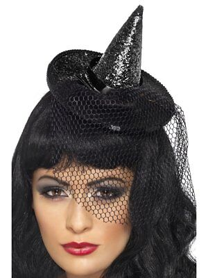 Witch Hat Cute Blk Glitter & Sequin Mini Halloween Witch Hat On A Headband