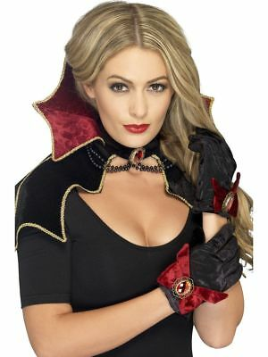 SMI - Kostüm Zubehör Set Vampirin Umhang Handschuhe Kragen Halloween