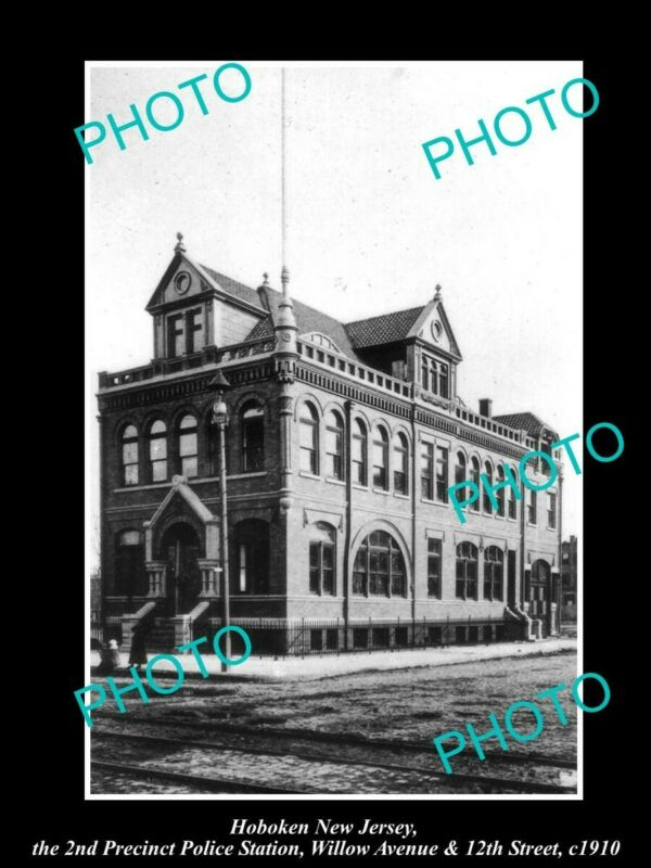 OLD 8x6 HISTORIC PHOTO OF HOBOKEN NEW JERSEY THE 2nd P/C POLICE STATION c1910