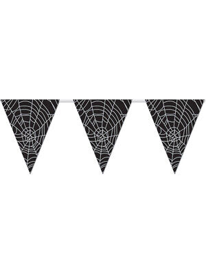 Halloween Web Banners (All Weather Spider Web Black Halloween Pennant Banner Flags With)