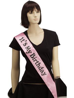 Pink Birthday Sash (Adult's Womens Happy Birthday It's My Birthday Party Sash Costume)