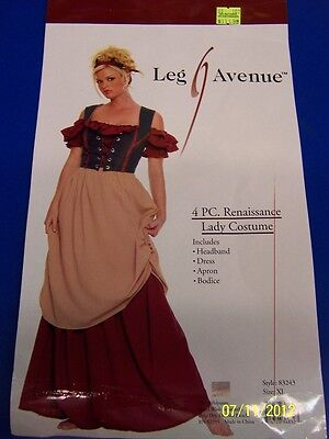 4 pc. Renaissance Lady Wench Peasant Dress Up Halloween Sexy Adult Costume