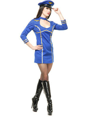 Womens Sexy Blue Fly Me Airline Stewardess Pilot Costume - Womens Pilot Costume