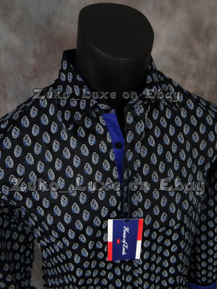"""Mens """"house Of Lords"""" Button Shirt Royal Blue With Paisle..."""