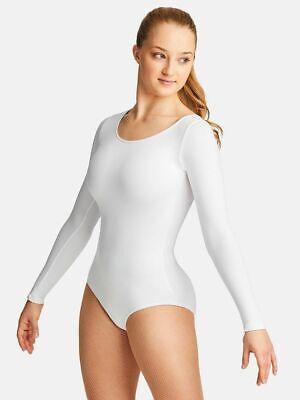 NWT Capezio TB135 Long Sleeve Leotard Ladies Black or White Dance Ballet  (Black Leotard Long Sleeve)