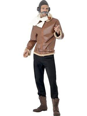 1940s Style Pilot Biggles Mens RAF Uniform Medium Fancy Dress Costume - Raf Pilot Kostüm