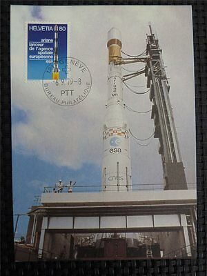 SCHWEIZ MK 1979 RAKETE ARIANE SPACE WELTRAUM MAXIMUMKARTE MAXIMUM CARD MC c1357