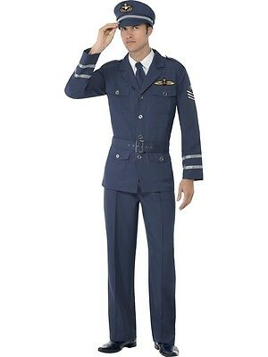 WW2 ARMY AIR FORCE CAPTAIN RAF UNIFORM 40s ADULT WWII mens fancy dress costume