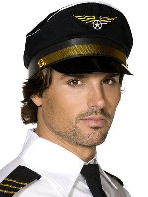Smi - Karneval Kostüm Zubehör Piloten Mütze schwarzer Hut zum Verkleiden