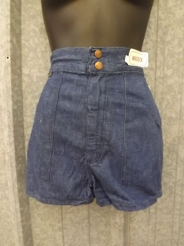 NOS True Vtg 1970s Indigo 100% Cotton HIGH WAISTED DENIM SHORTS Sz 7/8 Waist 25