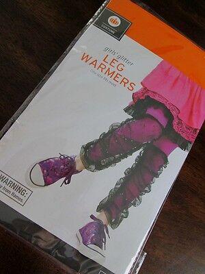Girls GLITTER LEG WARMERS One Size NEW Costume BLACK WITH SILVER GLITZ ON NET](Leg Warmers Target)