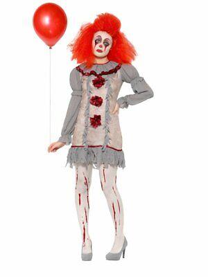 Vintage Killer Clown Lady Costume Women's It's Crazy Scary Fancy Dress (Scary Lady Kostüm)