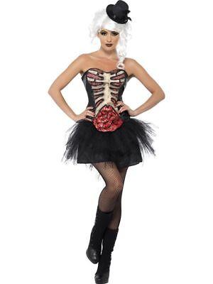 SMI - Damen Kostüm sexy Grotesk Burlesque Skelett Halloween - Burlesque Kostüm Halloween